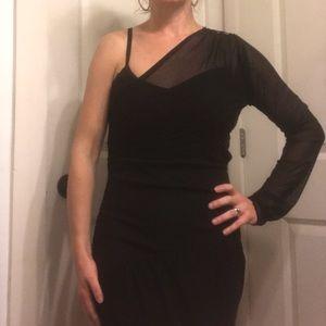 Zara one shoulder black dress